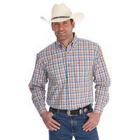 Wrangler Men's Orange And Blue Plaid George Strait Shirt