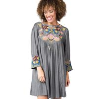 Ivy Jane Women's Embroidered Charcoal Dress