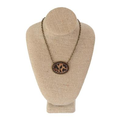 Pink Panache's Bronze and Leopard Sideways Necklace