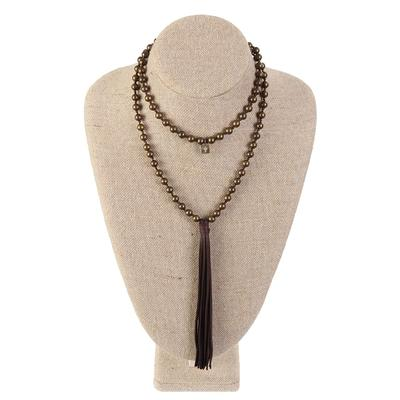 Pink Panache's Long Bronze Beads and Chocolate Tassel Necklace
