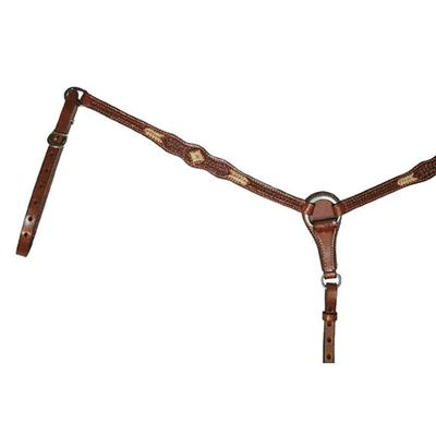 Circle Y Scalloped & Tooled Rawhide Laced Breast Collar