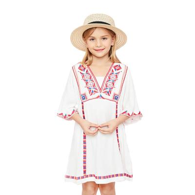 Hayden Girl's Embroidered Bell Sleeve Dress OFFWHITE