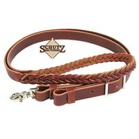Schutz Brothers Burgundy Latigo 5-Plait Roping Rein