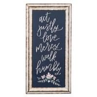 Act Justly Metal Framed Sign