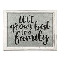 Love Grows Embossed Metal and Wood Sign