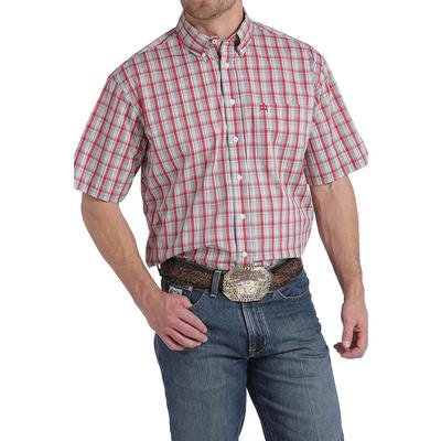 Cinch Men's Red White And Gray Plaid Arenaflex Shirt