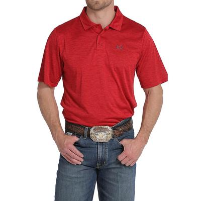 Cinch Men's Heathered Red Arenaflex Polo