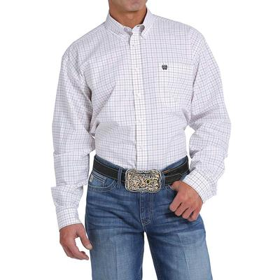 Cinch Men's White Orange And Navy Plaid Shirt