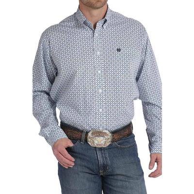 Cinch Men's Navy And White Geo Print Shirt