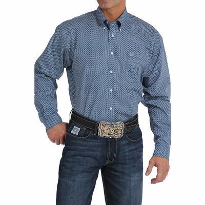 Cinch Men's Short Sleeve Navy Blue Geo Print Shirt