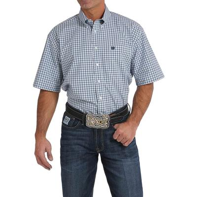 Cinch Men's White And Navy Plaid Shirt