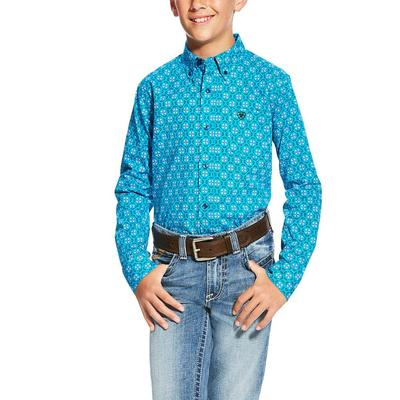 Ariat Boy's Laketon Aqua Print Shirt