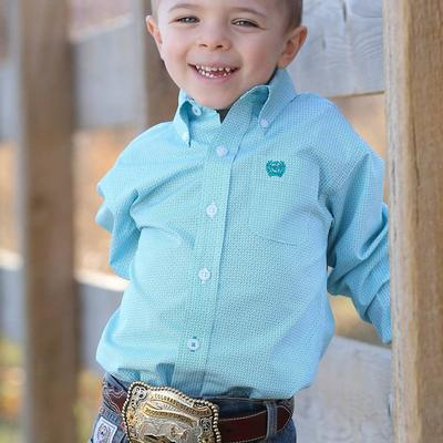 Cinch Toddler's White And Turquoise Geometric Print Shirt