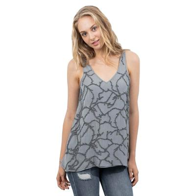 Lola and Sophie Women's Beaded V-Neck Tank Top
