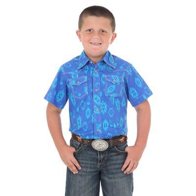 Wrangler Boy's 20x Blue Print Shirt