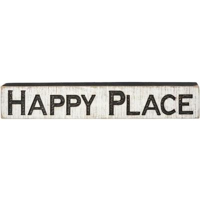 Happy Place Carved Wood Sign