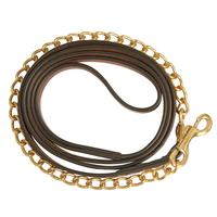 Collegiate Leather Lead with Brass Chain