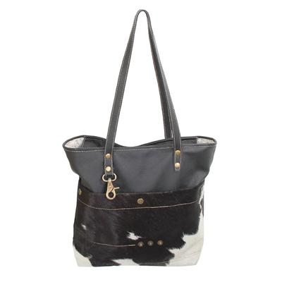 Myra Bag's Black And White Leather And Fur Tote