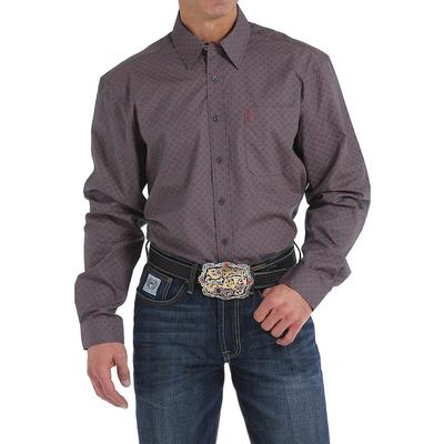 Cinch Men's Charcoal And Red Diamond Geometric Print Shirt