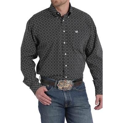 Cinch Men's Long Sleeve Black And White Dot Geometric Print Shirt