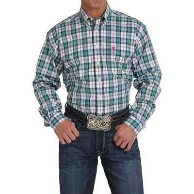 Cinch Men's Teal And White Plaid Shirt