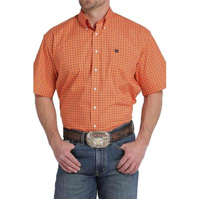 Cinch Men's Orange Geometric Print Shirt