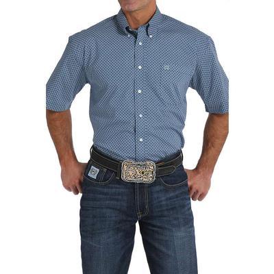 Cinch Men's Navy Blue Geometric Print Shirt