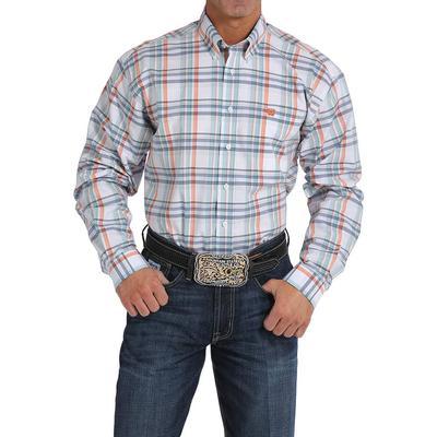 Cinch Men's White Orange And Blue Plaid Shirt
