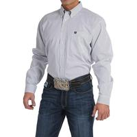 Cinch Men's Long Sleeve White and Navy Striped Button Shirt