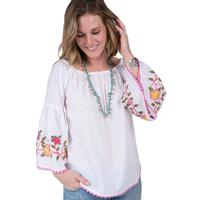 Ivy Jane Women's Floral Vine Embroidered Top