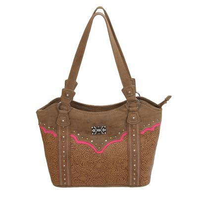 Catchfly Tooled Leather And Pink Concealed Carry Purse