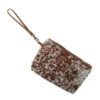 Brown and White Fur Wristlet Bag