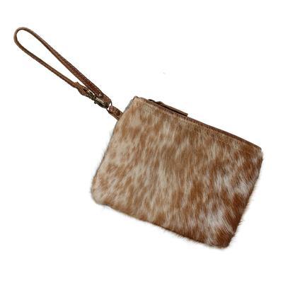 Light Brown and White Fur Wristlet Bag