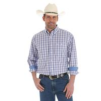 Wrangler Men's Red White and Blue Plaid George Strait Shirt