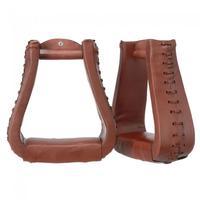 Royal King Oversized Western Stirrups Chestnut Leather
