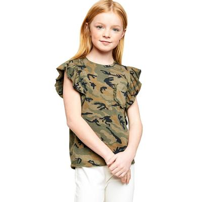 Hayden Girl's Ruffle Camo Top