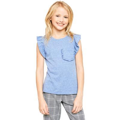 Hayden Girl's Ruffle Pocket Top BLUE
