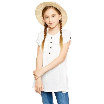 Hayden Girl's Rolled Sleeve Button Top