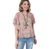 Ivy Jane Women's Pink Cactus Ruffle Top