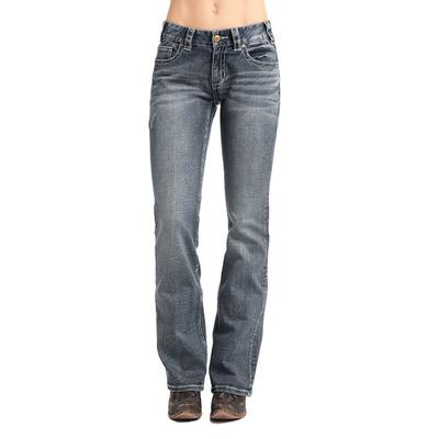 Rock & Roll Denim Women's Vintage Wash Mid-Rise Boot Cut Jeans