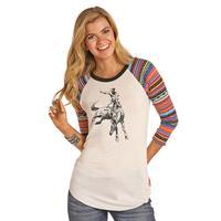 Rock & Roll Denim Women's Bronco Serape Baseball T-Shirt