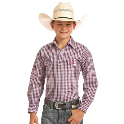 Panhandle Boy's Pink Plaid Long Sleeve Snap Shirt