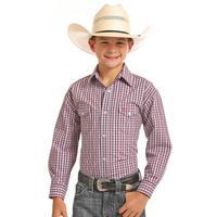 Panhandle Boy's Pink Plaid Long Sleeve Snap Shirt