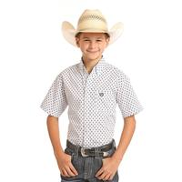 Panhandle Boy's White Print Short Sleeve Shirt