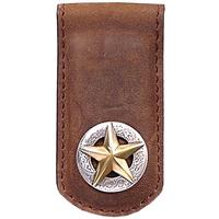 3D's Brown Leather Western Money Clip