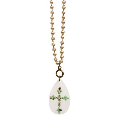 Pink Panache's Pearl and Turquoise Cross Necklace
