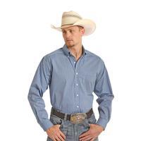 Panhandle Slim Men's Blue Diamond Print Tuf Cooper Long Sleeve Performance Shirt
