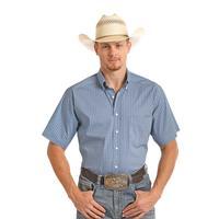Panhandle Slim Men's Blue Diamond Print Tuf Cooper Short Sleeve Performance Shirt