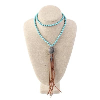 Beaded Turquoise Concho Tassel Necklace