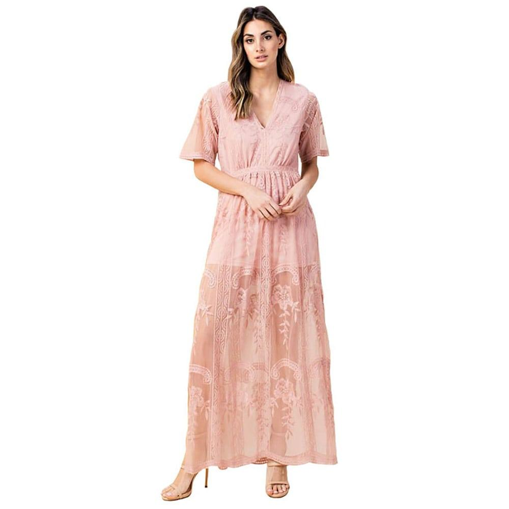 ef5a8e09903 Kori America Women s Sheer Lace Maxi Dress